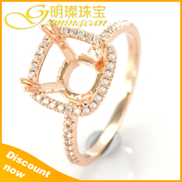 Latest Gold Ring, 14k Rose Solid gold with Diamond, Diamond gold Ring