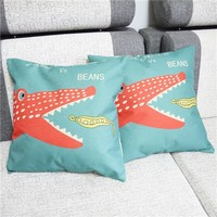 Colorcasa home textile alligator patterned pillowcase cotton fabric pillow cover decorative item for bed&sofa(ETH127)