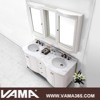 VAMA 60 Inch Double Vanity in White Antique Wooden Furniture with Marble