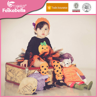 Particular Design Pumpkin Printed Rompers Long Sleeve Onesie + Tutu Skirt + Leg Warmers + Hat 5pcs/set Newborn Halloween Clothes