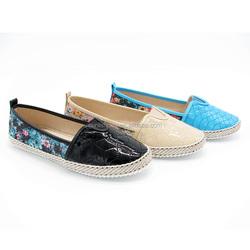 latest ladies fancy soft embroidery jute espadrille footwear lady fashion shoe