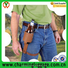 custom logo leather single wine beer holster belt bottle holder/ bottle carrier