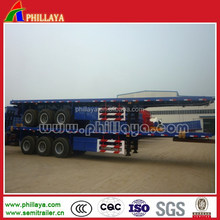 40ton 3 axle 40ft multi-used container semi trailer, flatbed platform truck chassis for 20 and 40feet containers