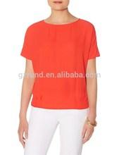 Venta al por mayor de china ropa damas llano tops en gasa, en blanco para mujer en blanco tops