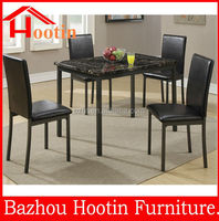 MDF top dining table and 4leather dining chairs