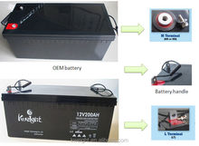 Rechargeable battery 12v 200ah AGM deep cycle battery in shenzhen