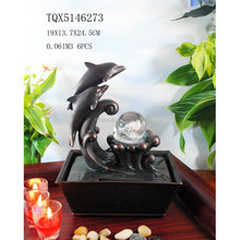 Resin Ornaments Lovely Dolphin Mini Water Fountain with Rolling Ball