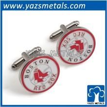 Hot sealing hard enamel red sox cufflinks/Custom made cufflinks for men