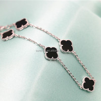 Wholesale 100% Real sterling silver jewelry No.ZY471SH07 fashion design clover 925 silver bracelet