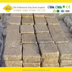 Flamed Rusty Yellow G682 granite paving on mesh ,flamed brushed Granite mesh tile