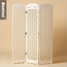 Decoración para el hogar de la pantalla plegable, chino antiguo tallado blanco pantalla plegable