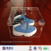 Manufacturing customized acrylic display box acrylic shoe box,retro basketball shoes fashion acrylic mens sneaker box