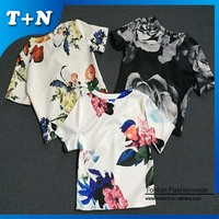 sublimation flower print active wear crop top and tank top manufacturer in China
