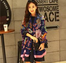 Women's viscose korean style camellia designed printing fashion shawl