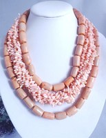Handmade necklace for Nigerian /African women ! 3 circle beautiful pink coral beads !