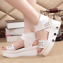 SE1046 Europe and The United States Footwear Metal Rivets Platform Shoes New Slope Heel Women Summer Leather Sandals