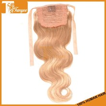 Grade 6A Brazilian Human Hair Weaving Blonde Color#27 Real Hair Ponytail