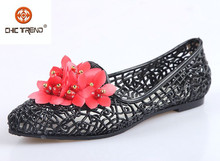 2015 plastic jelly women Pump shoes new designs pvc upper flats dance shoes with rose flower
