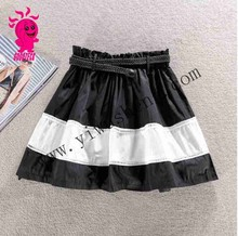 2015 new socialite tall waist double-layer A -line PengPeng bust skirts pants dress black and white