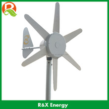 6 blades 50W DC wind turbine generator with built in controller, 12V/24V optional portable small wind generator for street lamp