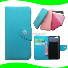 In Stock Book Folio Mobile Phone Case with ID Card Slots Cross Pattern For Iphone 6, PU Leather Flip Cover