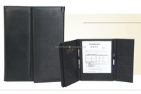 3 folds faux leather service guide folder for hotel restaurant clubs