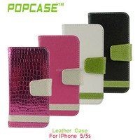 stand wallet mobile phone cover for iphone 5 leather wallet case