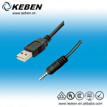 Black MP3 MP4 usb to 3.5mm stereo headphone jack cable
