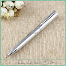 2015 Wholesale factory price small quantity order pen silver slim logo metal ball pen