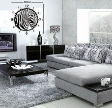 Stylish animal round modern design zebra art wall clock stickers for drawing room