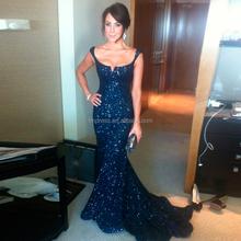 Elegant Cap Sleeve Scoop Heavy Beaded Long Navy Blue Evening Dresses 2015 Evening Gowns Sleeveless ED9141 Vestido De Festa Longo