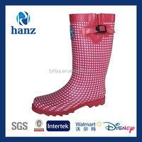 red plaid modern ladies new design wellies with side buckle