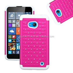 2015 arrival For Lumia 640 Hybrid Heavy Duty Rugged Impact Advanced Armor Soft Silicone Cover Hard Snap On Studded Diamond Bling