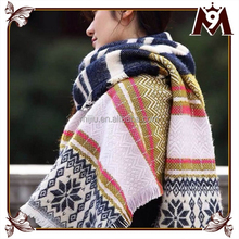 2015 hot fashion mixed color knit cashmere scarf pattern for women