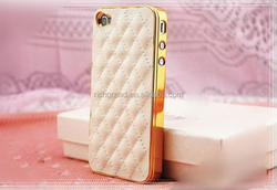 High Quality Soft Grid Pattern PU Leather Case for iPhone 5 5s 4 4S