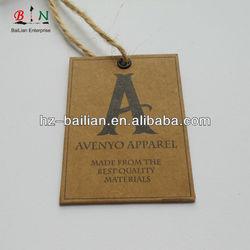 Thick card board hemp string square natural hang tag