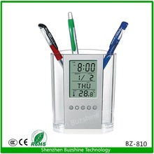 Plastic Pen Holder with Clock