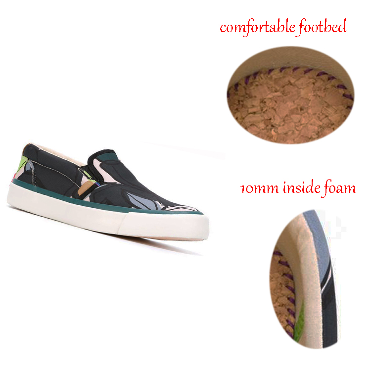 슬립-새로운 디자인 인쇄 꽃 캔버스 레이스 신발 다시 내부 거품 탄성 편안한 캔버스 패브릭 신발