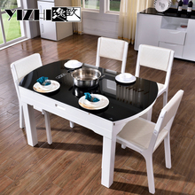 High Quality Extendable Temrered Glass Dinning Table with Wood Frame