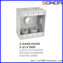"""2-3/16"""" DEEP 4-9/16"""" H x 4-9/16"""" W DIE CAST ALUMINIUM LUGS INCLUDED 2-GANG BOXES"""