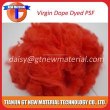 2015 hot sale virgin grade red color 1.5D*38mm dope dyed polyester staple fiber, dope dyed polyester staple fiber