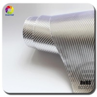 TSAUTOP 7 colors Available RoHS Certificated 1.52x20m air free bubbles silver 5d carbon fiber sticker for car