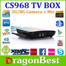 Android4.2 TV Box Quad Core RK3188 1.6GHz Bulit-in Camera RAM 2GB ROM 8GB Bluetooth 4.0 CS968