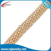 RS-7008 Factory outlet jewelry findings, 6mm mesh chain 2015 new metal gold chain link mesh