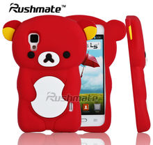 Bear Design Mobile Phone Protectives For LG E455 Optimus L5 II Red Silicone Cell Phone Case Cover