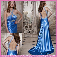 HE4582 New design with great price beaded rhinestone top sweep trai backelss empire waist stretch halter top evening dresses