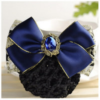 H056 Free shipping Stock Wholesale Blue Bowknot hair jewelry Red Bowknot hair pin Crystal Bowknot pendant hair clip for women