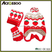 Winter custom wholesale Beanie knitted Hat scarf and Gloves Set