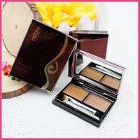 2 Color eyebrow powder for Brow color kits with eyebrow tweezers and brush for eye makeup