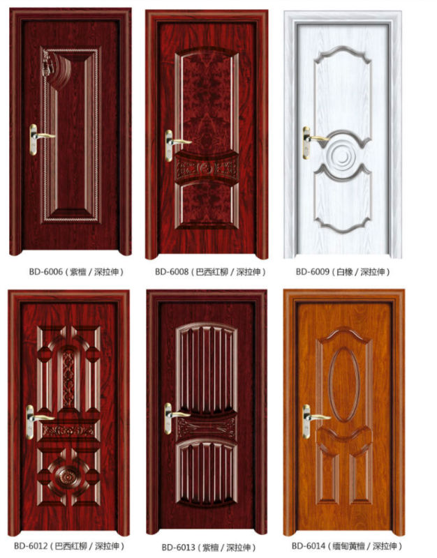 2014 new design steel wrapped wood door with white color